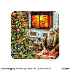 Santa Wrapping Presents by Shawna Mac Square Sticker