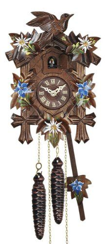 Quartz Cuckoo Clock with Music and Hand Painted Edelweiss