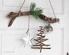 """New project! / When the simplest of twigs become a little rustic Christmas tree. Just add string!   Tutorial on the blog under 'rustic twig Christmas…"""