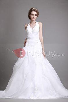 Aラインホルター床長さのチャペルトレインティアード大きめウェディングドレス