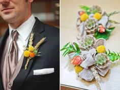 yellow and orange boutonnieres