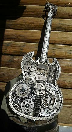 Steampunk Guitar more at Mike Vands 😈 Unique Guitars, Custom Guitars, Vintage Guitars, Guitar Art, Music Guitar, Cool Guitar, Ukulele, Instruments, Metal Art Projects