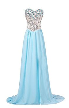 Strapless Rhinestones Slit Gown Bridesmaid Prom Evening Party