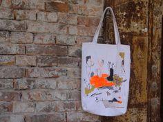 Large Tote Bag Urban Glam White Orange Hand Painted by koatye1