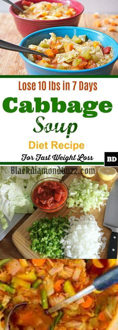 Best Cabbage Soup Diet Recipe for Weight Loss- Lose 10 Pounds In 7 Days. Cabbage Soup Diet Recipe for Weight Loss Preparing the cabbage so. 7 Day Cabbage Soup Diet Recipe, 7 Day Soup Diet, Soup Diet Plan, Cabbage Diet, Diet Soup Recipes, Diet Meal Plans, Weight Watchers Cabbage Soup Recipe, Cabbage Meals, Cabbage Recipes