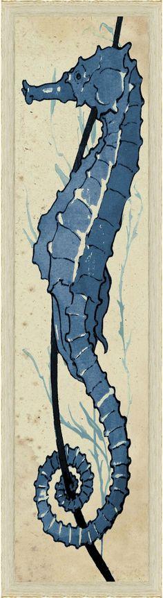 Lecare Seahorses Blue 2 Artwork: Beach Decor, Coastal Home Decor, Nautical Decor, Tropical Island Decor