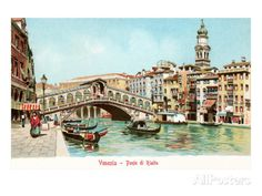 Painting of Rialto Bridge, Venice, Italy Art Print