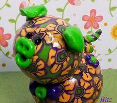 Bitz Polymer Clay Piglet by TheWorldOfMerryBerry on Etsy, $10.00