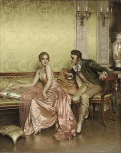 """""""The Conversation"""" by Charles Soulacroix (1825-1900)."""