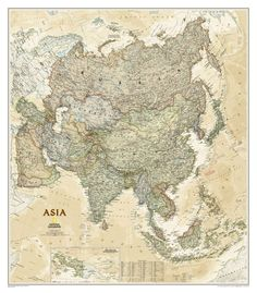 Asia Political Map (Earth-toned), Laminated | National Geographic Store