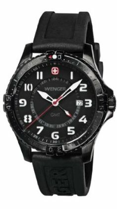 40b160a5a79 Wenger Men s 77073 Squadron GMT Black Ion-Plating Rubber Strap Watch  Wenger.  226.63.