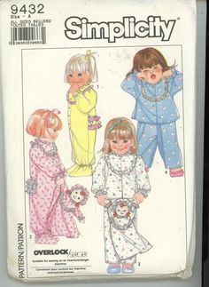 Simplicity 9432  Toddler Pajamas and Doll  by HeavenztoBetsyDesign
