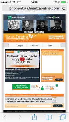 Oggi ore 17.30 Borsa in diretta tv _ BNPPARIBAS >>> Outlook sull'Italia ... rischi e opportunità per il 2015  Conduce: Riccardo Designori  Ospiti in studio: Luca Comunian (di BNP Paribas), #FRANCESCOCARUSO (fondatore www.cicliemercati.it)  Trader in collegamento: Filippo Cossetti (trader indipendente)   http://bnpparibas.finanzaonline.com/ITA/borsa-in-diretta-tv/home