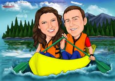 Couple canoeing in a beautiful lake. To order your digital caricature gifts, visit : https://www.etsy.com/shop/AlephTavgiftshop#gifts #paintings #alephtavart #art #caricature #vacation #products #drawings #weddings #paddling #landscape #nature