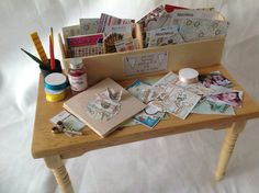 Dolls House Miniatures - Scrapbook Craft Table  do this with sewing/knitting