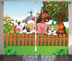 Ambesonne Cartoon Decor Collection, Collection of Cute Farm Animals on the Fence Comic Mascots with Dog Cow Horse for Kids Decor, Living Room Bedroom Curtain 2 Panels Set, 108 X 90 Inches, Multi *** You can find out more details at the link of the image.