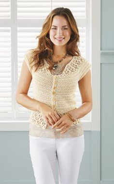 Mary Maxim - Summer Chic Cardigan - Crochet Sweaters - Sweaters - Knit & Crochet