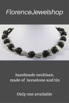 Black silver gemstone beaded necklace, (hand)made of lavastone and tin, finished with a magnetic clasp. You can wear this necklace on any occasion also on a wedding and it will look great on white and black or red and blue clothing. ? 70. Learn more:  www.etsy.com/...