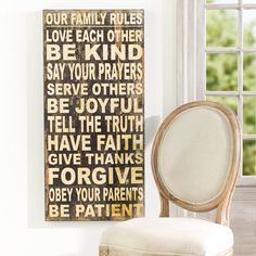 Family Rules Wall Hanging   Wall Art