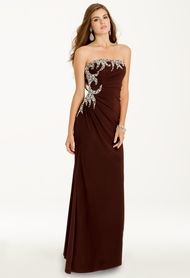 Camille La Vie Strapless Swirl Dress with Chunky Side Bead