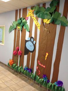 giraffe and gorilla, Rumble in the Jungle, Preschool Hall