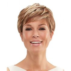 This short wig by Jon Renau features a comfortable Monofilament wig cap and Lace Front for a natural looking hairline and scalp. Try Annette by Jon Renau today! Short Shag Hairstyles, Trending Hairstyles, Short Haircut, Short Hairstyles For Women, Straight Hairstyles, Very Short Hair, Short Straight Hair, Jean Louis David, Jon Renau