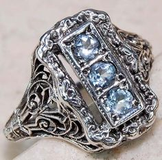 Natural Aquamarine 925 Solid Sterling Silver Art Nouveau Ring Sz 7 75 | eBay