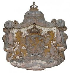 French Iron Crest  late 18th to 19th c with two lions, crown shield, inscribed in French, ornate framed
