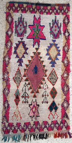 """96""""X47"""" Vintage Moroccan rug woven by hand from scraps of fabric / boucherouite / boucherouette"""