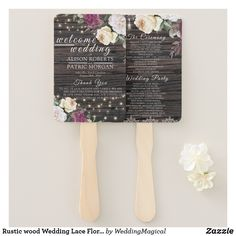 Shop Rustic wood Wedding Lace Floral Wedding Program Hand Fan created by WeddingMagical. Personalize it with photos & text or purchase as is! Hand Fans For Wedding, Wedding In The Woods, Wedding Country, Lace Weddings, Romantic Weddings, Outdoor Weddings, Wedding Dresses, Rustic Wedding Programs, Wedding Arrangements
