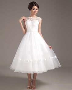 dress sandels wedding gown | Scoop Lace Tea Length Ivory 2013 Wedding Dresses