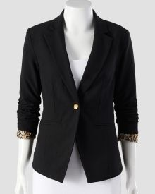 Petite Ruched Sleeve Jacket with Animal Print Trim, Main View