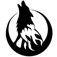 wolf silhouette with cresent moon! i am so about to get hubby to buy this! Wolf Stencil, Tribal Wolf, Celtic Tribal, Wolf Silhouette, Halloween Stencils, Furry Wolf, Wolf Moon, Wolf Howling, Wolf Tattoos