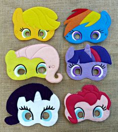 Add these adorable My Little Pony Inspired Felt Masks to a party. The felt masks are machine embroidered using wool blend felt.    Customize your
