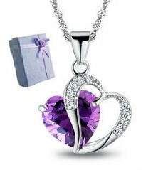 """Rhodium Plated 925 Silver Diamond Accent Amethyst Heart Shape Pendant Necklace 18"""" Forever. $19.99"""