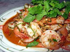 a flavor of Thai: Thai Spicy Shrimps Salad (Plah Koong) Spicy Shrimp Salad, Spicy Shrimp Recipes, Thai Shrimp, Seafood Recipes, Cooking Recipes, Thai Seafood Salad Recipe, Spicy Thai, Thai Thai, Yummy Thai