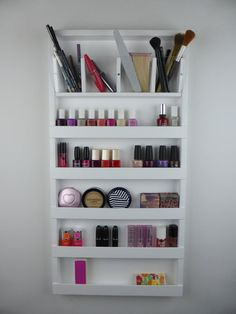 White make up organizer - storage - pencil - brush - lipstick holder Nail polish rack display - wall hanging - plexiglass - acrylic