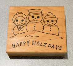 Snowmen Happy Holidays Rubber Stamp Made in USA 3 inches x 2.75 inch Minnesota #TheStampPadCo #Background