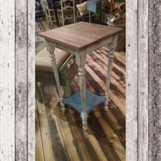 Distressed white & blue side table with stained wood top. $54.99 #cherisheverymoment #upcycling #homedecor