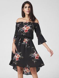 8c258be7ed6 Lztlylzt Floral Print Off-shoulder Irregular Horn Sleeve Women Dress is  high-quality, see other cheap summer dresses on NewChic.