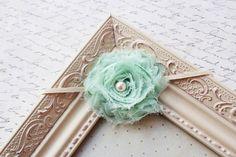 Mint Chiffon flower headband baby flower by FlourishingCreations, $7.55