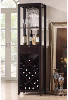 Wine Cabinet Storage Shelf Tower Modern Contemporary Dark Brown Wood Veneer #BaxtonStudio #Wine #WineCabinet #Storage #WineStorage #Shelf #Furniture