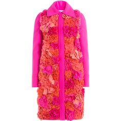 Victoria, Victoria Beckham Appliquéd Flower Coat (9.635 RON) ❤ liked on Polyvore featuring outerwear, coats, jackets, pink, puff sleeve coat, pink coat, floral coat, flower coat and floral print coat