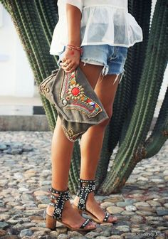 Ethnic Isabel Marant shoes + embroidered Antik Batik clutch by Sincerely Jules