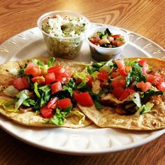 Two Fish Tacos w/ Pico de Gallo and Coleslaw!  Just 407 calories and $5.99. http://www.lambsfarm.org/new-healthy-menu-at-magnolia-cafe/