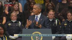 """""""[Police officers] are deserving of our respect and not our scorn.""""  President Obama spoke this afternoon at an interfaith memorial service for the fallen Dallas officers."""