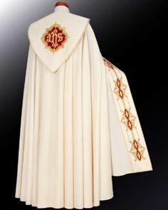 Cope made of cream coloured parament fabric