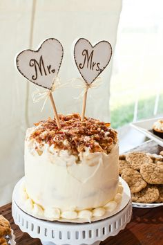 Mr and Mrs Heart Cake Topper
