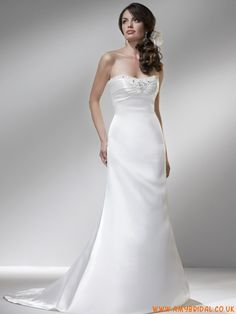 2011 Strapless Mermaid/ Trumpet Beads Working Elegant Pure White Court Train Wedding Dress