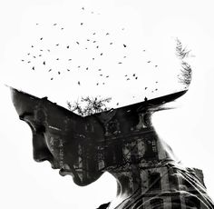 """Illusion: These gorgeous black and white images are the work of Bulgarian photographer Aneta Ivanova who specialises in the double exposure technique. Taken from her """"Scars"""" and """"Germany"""" projects they are monuments to surrealism, and beautifully combine the human body with nature and architecture. This is something special. Artwork © Aneta Ivanora Via Behance. http://illusion.scene360.com/art/48239/double-exposure-photography/"""